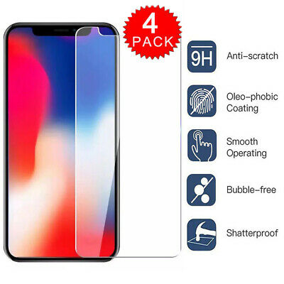 For iPhone 11 Pro X XR XS Max 8 7 6 Plus HD Tempered Glass Screen Protector 4PCS