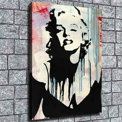 "12""x16"" Monroe Abstract Black HD Canvas prints Home decor Room Wall art Pictures"