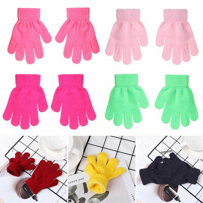 Hot Kids Candy Color Boy Girl Children Stretch Glove Knitted