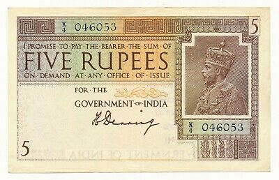 Government of India George V 5 Rupees H. Denning P. 4a gEF & Very RARE