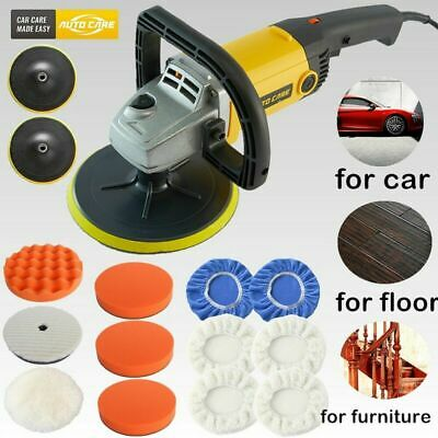 "1200W 7"" Power Polisher Car Buffer Sander Polishing Waxing Machine Polish Kit UK"