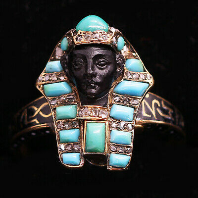 Antique Victorian Egyptian Revival Ring18k Gold Diamonds Turquoise (5872)