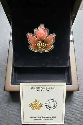 2017 $200 Autumn Fire - 9999 Pure Gold Maple Leaf-Shaped Coin with Box and COA