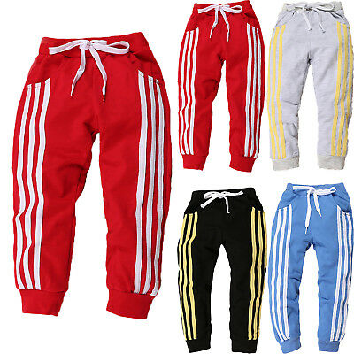 Kids Boys Girls Joggers Jogging Bottoms Pants Harem Sweatpants Striped Sportwear