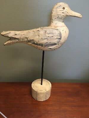 Vintage Folk Art Handcarved Wood Duck/Seagull decoy, On Stand-13""
