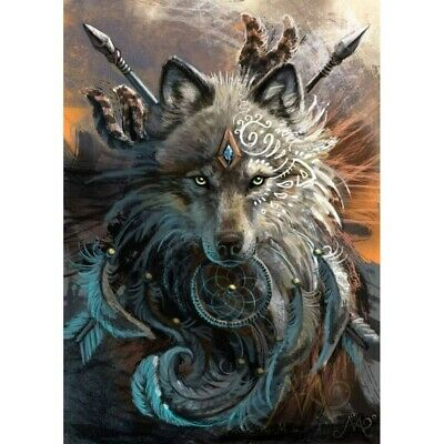 5D DIY Full Drill Diamond Painting Wolf With Weapon Embroidery Kits Decor Mural