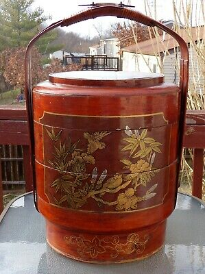 Antique Chinese Three Tier Wedding Basket Bamboo and Wood Artist Signed.