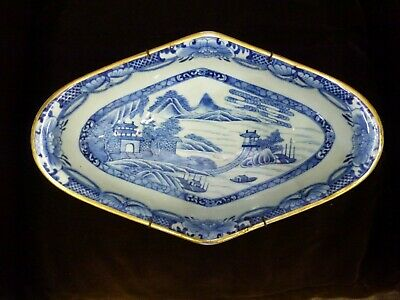 Vintage old pottery ceramic Large Chinese hand painted Blue & white diamond dish
