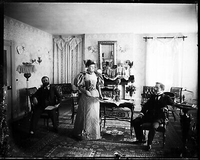 LATE 1800s EARLY 1900s GLASS NEGATIVE, RUSTIC INN, HOTEL, HOME, NH.? INTERIOR-2