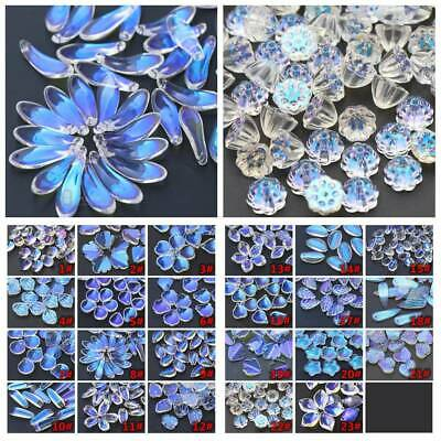20pcs Flower Petals Aurora Crystal Glass Charms Loose Pendants Beads DIY Jewelry