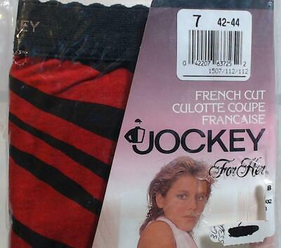 1990 Vtg Jockey Womens Panties Underwear Red Black 7 42-44 Hip French Cut Cotton
