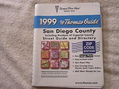 1999 San Diego County California Thomas Brothers Street Guide  Directory