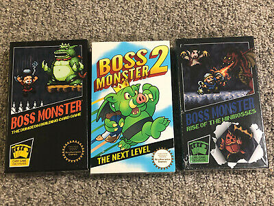 LOT: Boss Monster 1, 2 Next Level (No Holofoil Cards), 3 Rise of the Minibosses