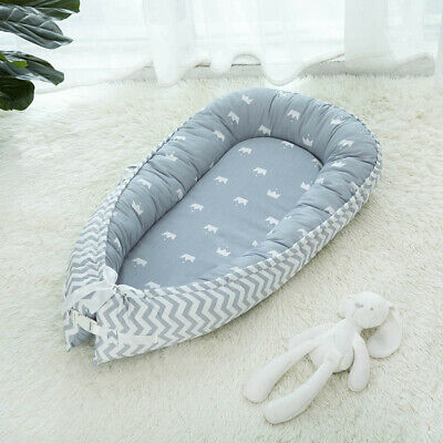 Baby Bed Soft Breathable Newborn Portable Infant Lounger Nest Crown_Blue