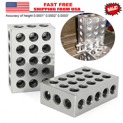 "2X 1-2-3 Blocks 23 Hole Matched Pair Ultra Precision .0002"" Machinist 123 Jig CA"