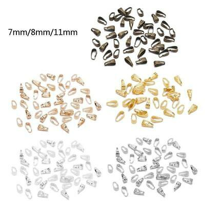 100Pcs Beads Pinch Clip Clasp Bail Hooks Necklace Pendant Clasps Jewelry Making