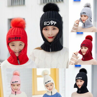 Men's Winter Beanie Hat Scarf  2 In 1 Warm Fleece Knitted Thick Knit Cap Kids UK
