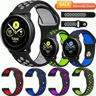 For Samsung Galaxy Watch 42/46mm S3 Active 2/1 40 44mm Sport Silicone Strap Band