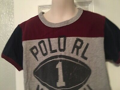 Boys Size 7 Ralph Lauren Polo Shirt w/ distressed lettering on front