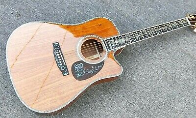 Solid Koa Top D45 Cutaway Acoustic/Electric Guitar W/  Abalone Inlay