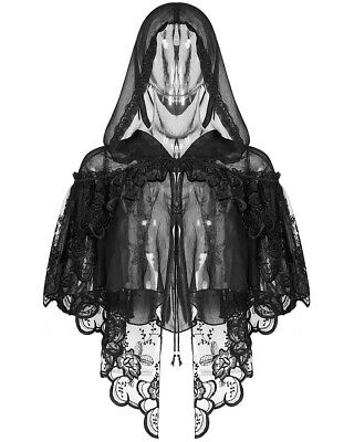 Punk Rave Pyon Womens Gothic Hooded Cape Black Lace Shrug Shawl Steampunk Witch