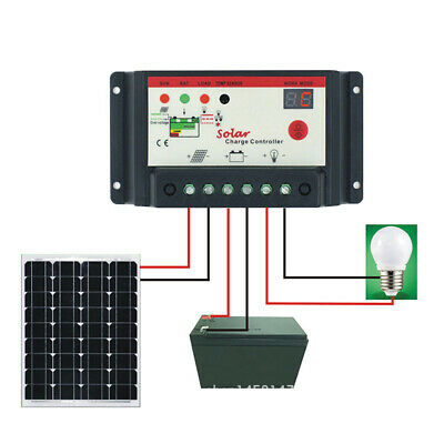 12V/24V PWM Solar Charge Controller 30A/20A/10A Regulator ST Light&Timer Charger