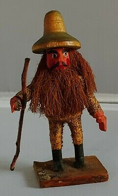 Vintage HANDCARVED wood OLD MAN With full beard long hair and staff 1923