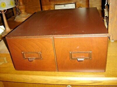 Antique Mahogany 2 Drawer Card File for 4 X 6 cards Original hardware    810