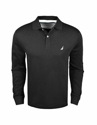 New Nautica- Men's Long Sleeve Solid Interlock Polo Black Large