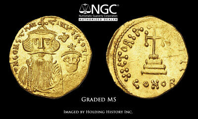 Constans II, with Constantine IV. 641-668. Gold Solidus, NGC MS