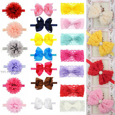 Kids Girls Baby Bow Knot Floral Toddler Hairband Soft Hair Band Headdress Wrap