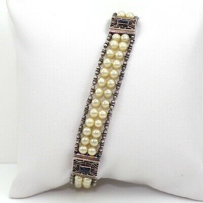"VTG Art Deco Antique 13gr Sterling Silver Pearl Sapphire Filigree Bracelet 7"" ZP"