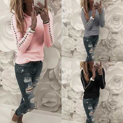 T-Shirt Casual Blouse Pullover Tops Ladies Pearl Sleeve Hollow Women's Slim Long