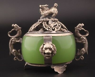 Exquisite Chinese Tibet Silver Jade Censer Statue Old Buddhist Incense Burner