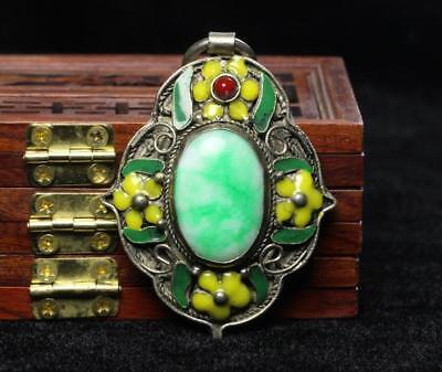 China Old Collectible Handwork Green Jade Cloisonne Flower Wonderful Pendant