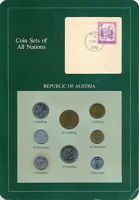 Austria Coin Sets of All Nations 7 BU Coins 1982