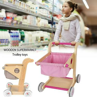 Wood Supermarket Trolley Toy Wooden Shopping Cart Pretend Play Toy For Kids