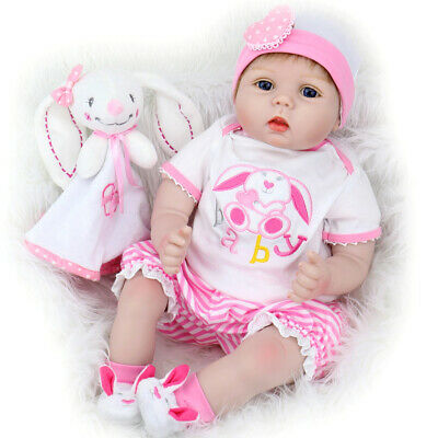 Lifelike Reborn Baby Doll 22'' Real Looking Weighted Reborn Doll with Bunny Set
