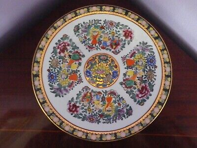 Vintage Chinese Porcelain Rose Medallion People & Flowers Plate (4) 25.5 Cms Dia