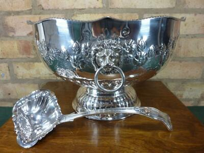 A Large Vintage lion handled Silver plated Soup Tureen Punch bowl with Ladle