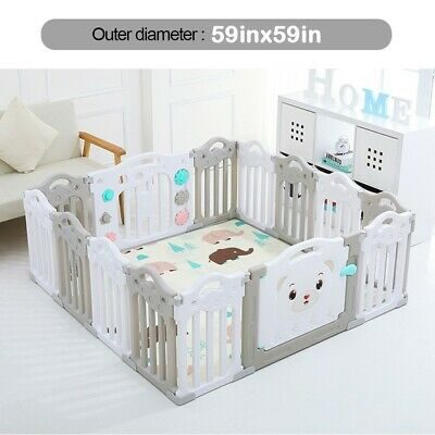Baby Playpen Kids 14 Panel Safety Panel Play Center Yard Home Indoor Fence