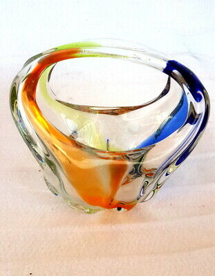 Vintage Multi Color Crystal Glass Candy Bowl Art Basket Wavy Decorative Heavy