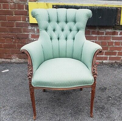 Fine Caved Mahogany Antique 1920s Tufted Upholstered Fireside Armchair