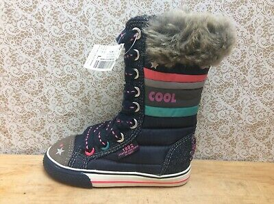 Next Infant Navy  Girls Zip Trainer Boots Size UK 5 infant EU 21.5 New Whit Tag