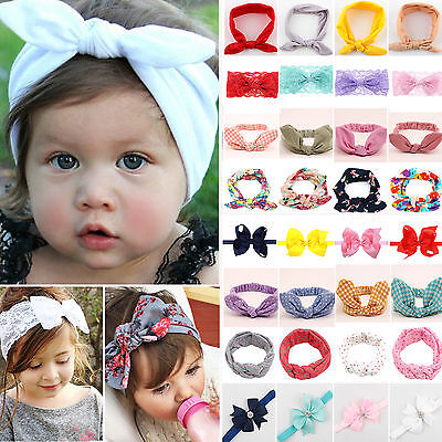Kids Baby Girls Lace Headband Bow Knot Hair Band Bunny Rabbit Head Wrap Ribbon