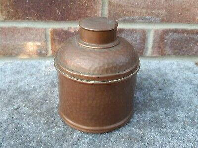 vintage art nouveau hammered copper tea caddy tobacco tin