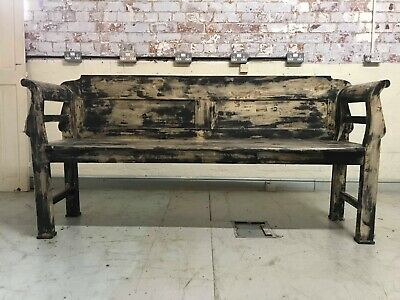 Antique 19C Hungarian Painted Pine Panelled Country Bench Settle. Cottage Chippy