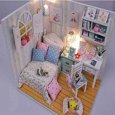 DIY M013 'Adabelle's Room' Miniature Dollhouse w/LED Lights, Dust Cover and Glue