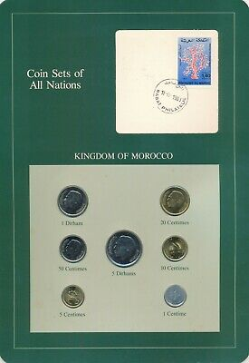 Morocco Coin Sets of All Nations 7 BU Coins 1974 & 1980
