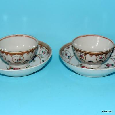 Chinese Export Porcelain 18Thc Antique Rose Pink Cups Saucers